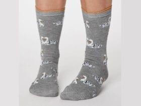 Grey Marle Swan socks