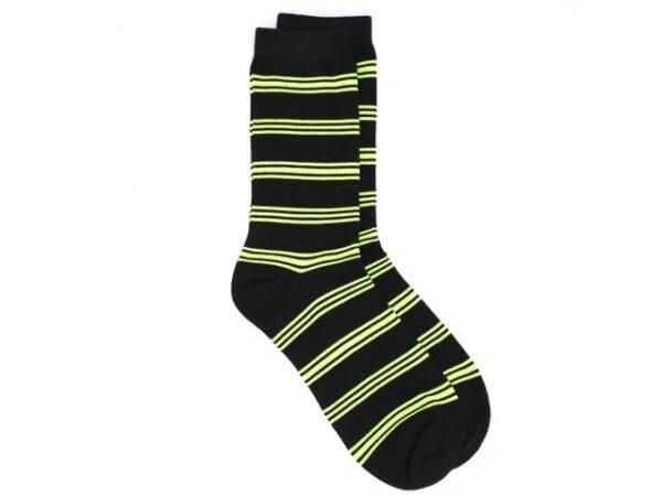 stripey bamboo socks, black/lime