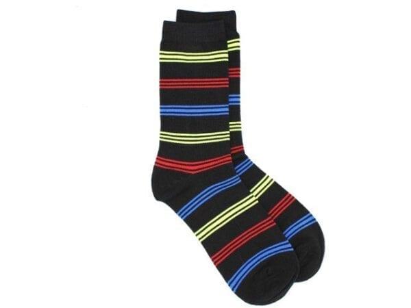 stripey bamboo socks black/multi