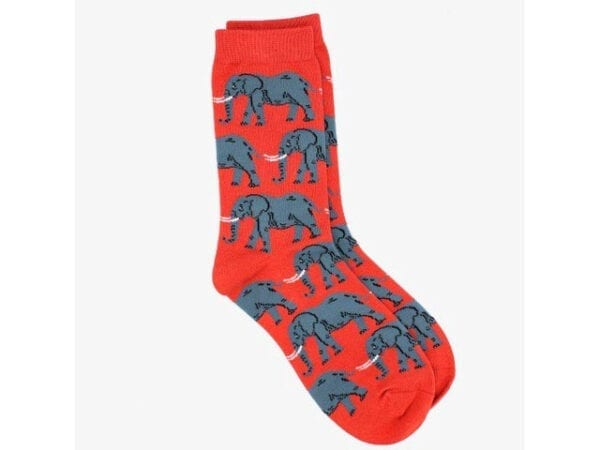elephant bamboo socks in red