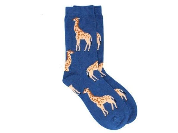 giraffes bamboo socks blue