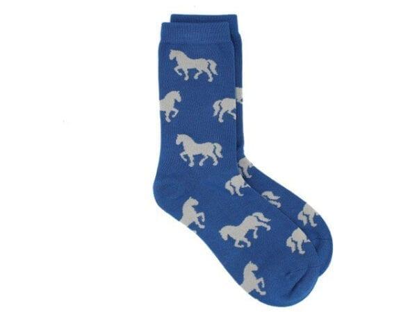 horses bamboo socks in blue