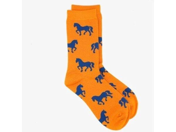 horses bamboo socks in orange