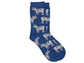 zebras bamboo socks in blue